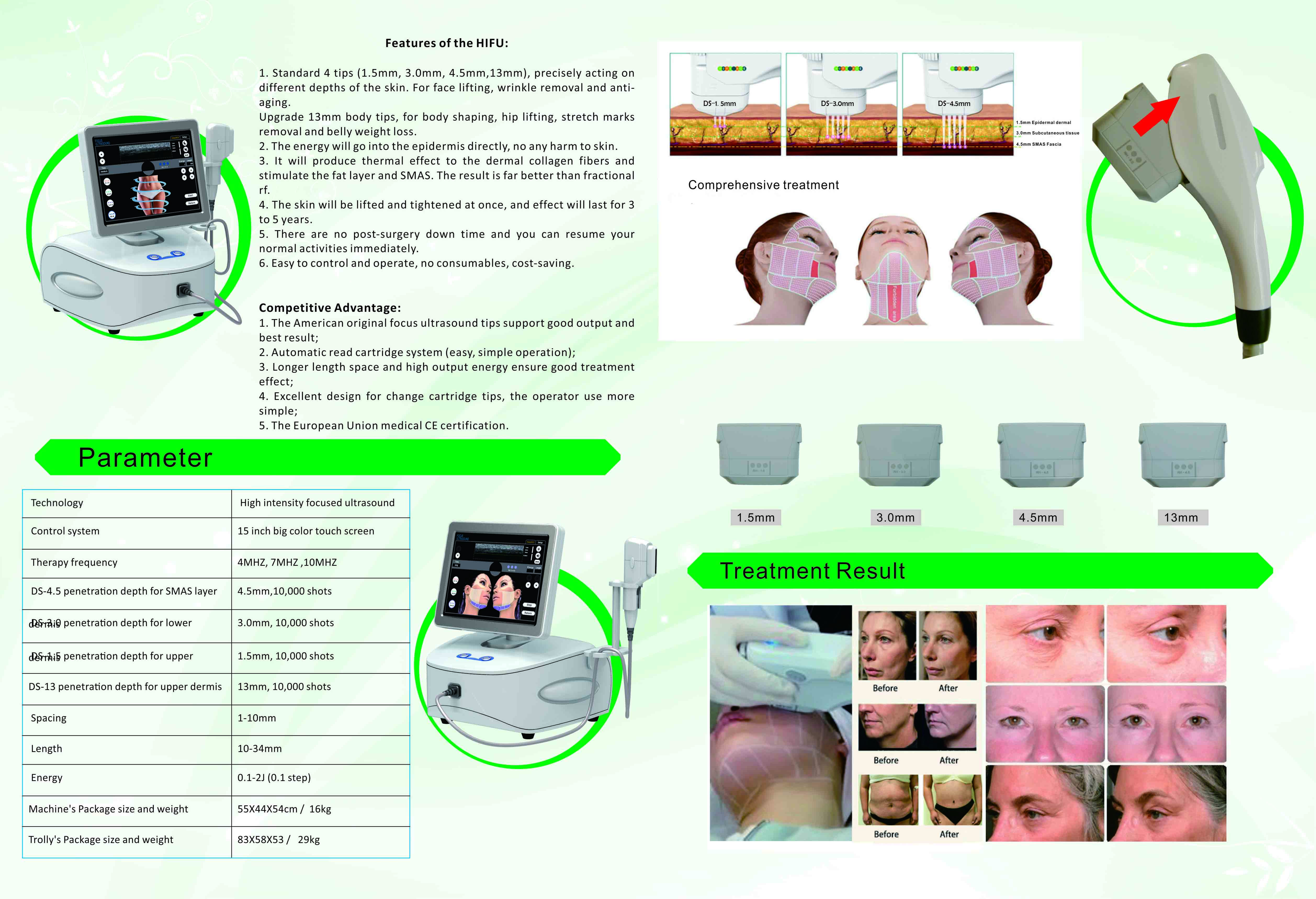 Face Lifting Body Shaping High Intensity Focused Ultrasound With 4 Cartridge